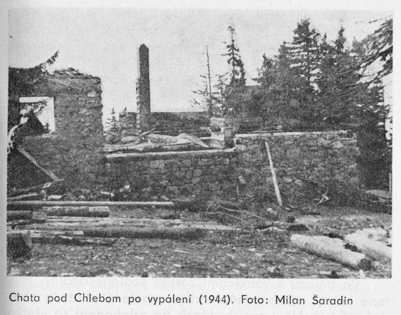 Chata pod Chlebom po vypálení